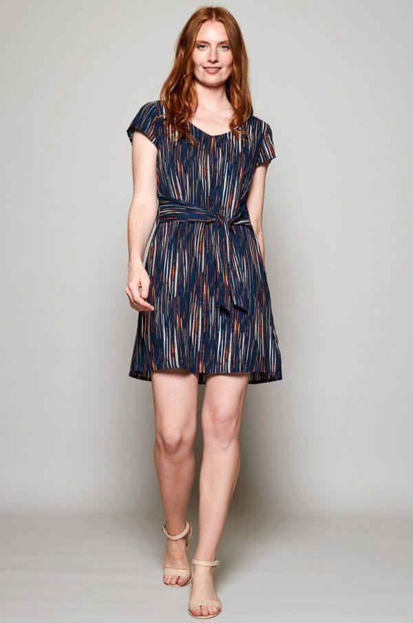 Nomads Kleid mit Schleife Stirpe blau