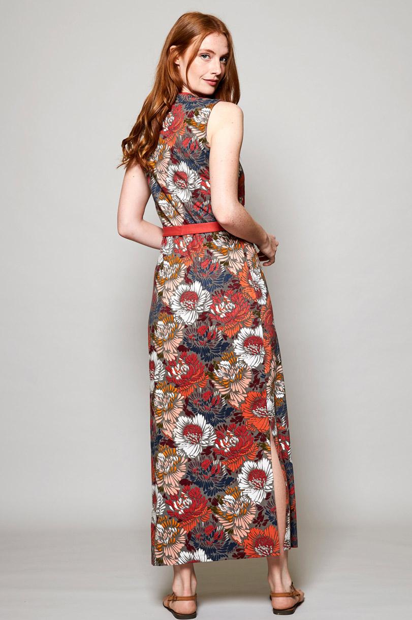 Maxi Kleid Petal aus Bio-Baumwolle rot ⋆ Bella Green