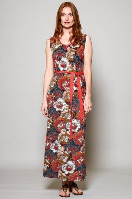 Nomads maxi šaty petal z bio bavlny červené
