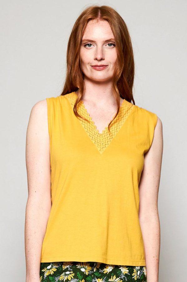 Nomads Top Crochet aus Bio-Baumwolle gelb