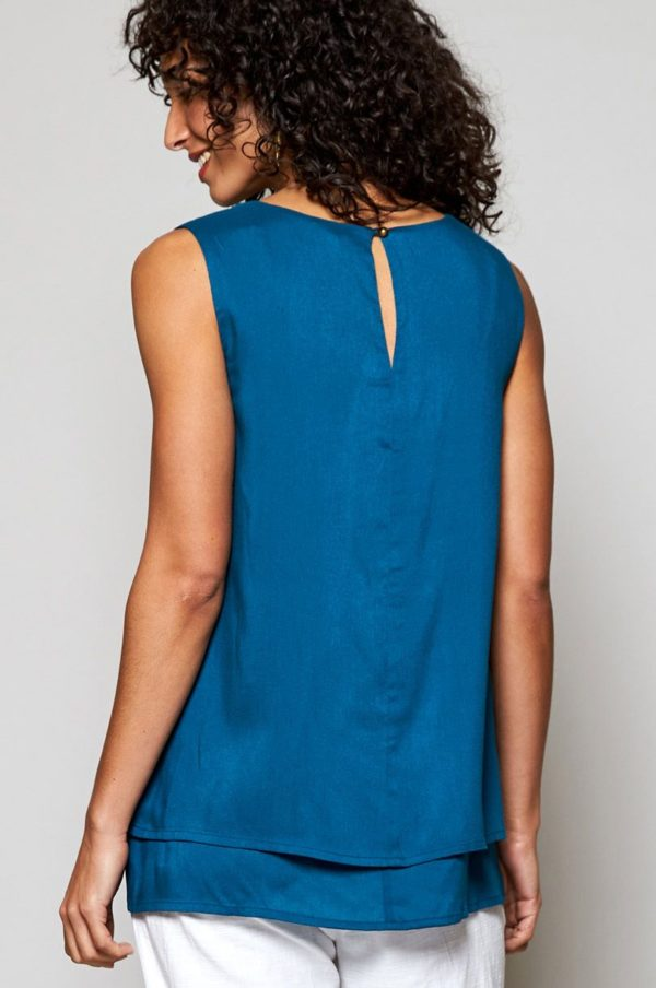Nomads Mehrschichtiges Top ärmellos blau