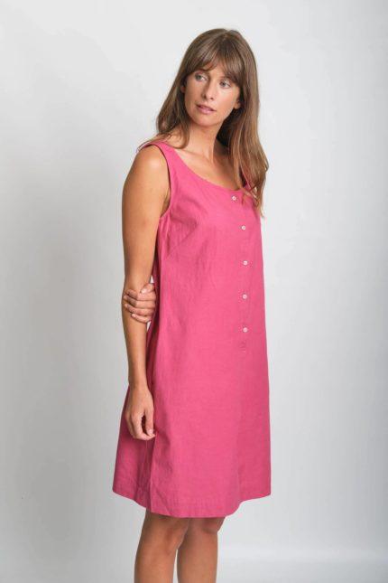 Bibico Kleid Erine mit Leinen rosa