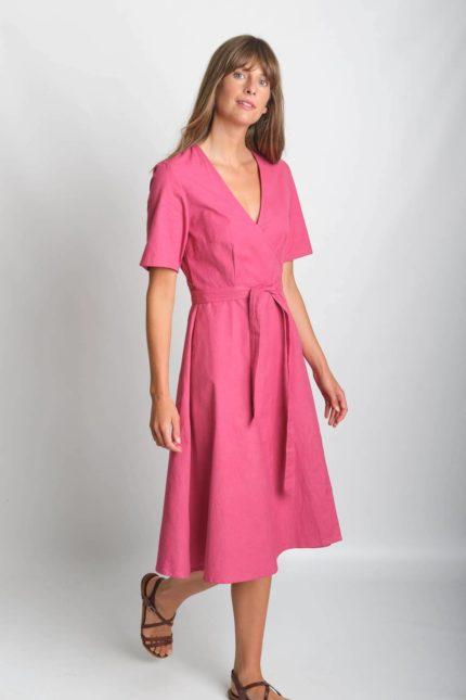 Bibico Wickelkleid mit Leinen Ida Pink
