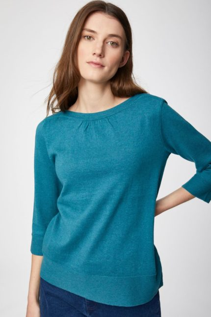Thought Pullover mit Wolle Lula blau