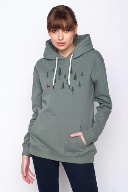 Greenbomb Damen Sweatshirt Forest Fox Grün