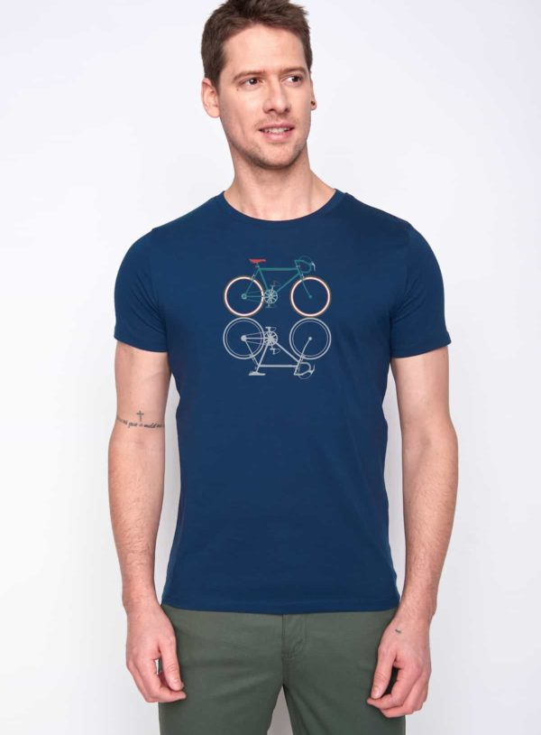 Greenbomb T-Shirt Bike Shape Blau