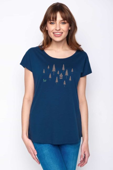 Greenbomb Damen T-Shirt Forest Fox Blau