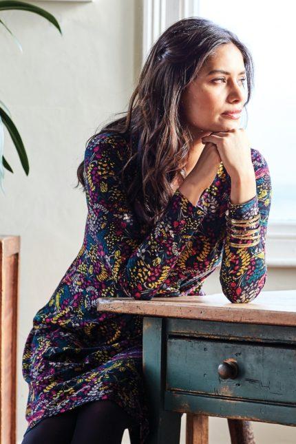 Nomads Kleid aus Bio-Baumwolle Songbird Aubergine