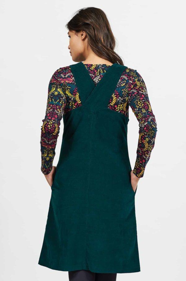 Nomads Cord pinafore Kleid mit Knöpfen Grün