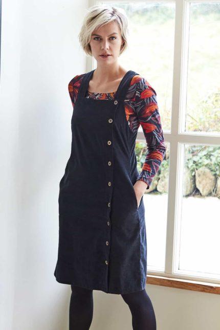 Nomads Cord pinafore Kleid mit Knöpfen Grau