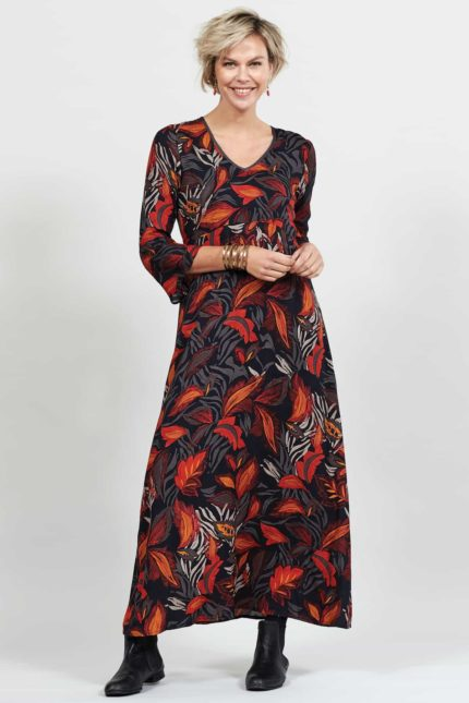 Nomads Maxi Kleid Dancing leaves Grau