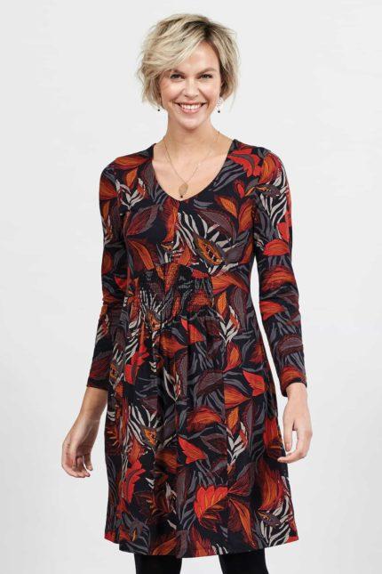 Nomads Kleid aus Bio-Baumwolle Dancing Leaves Grau