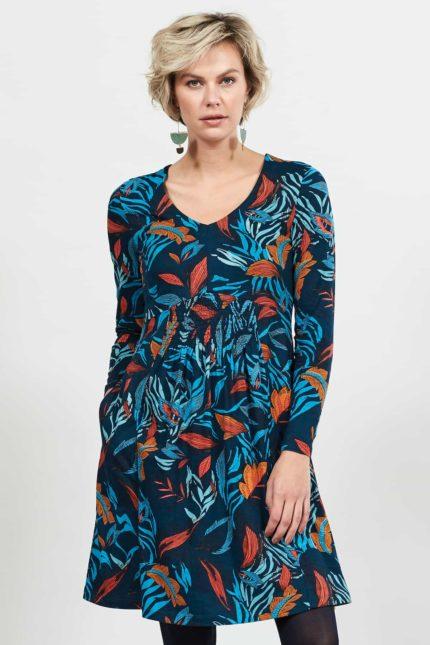 Nomads Kleid aus Bio-Baumwolle Dancing Leaves Blau