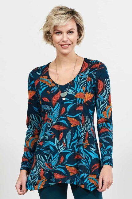 Nomads Tunika Top Dancing Leaves Blau