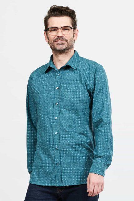 Nomads Herren Hemd Geo Check Blau