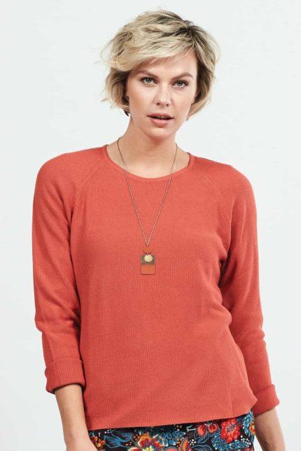 Nomads Pullover mit Viskose korallenfarben