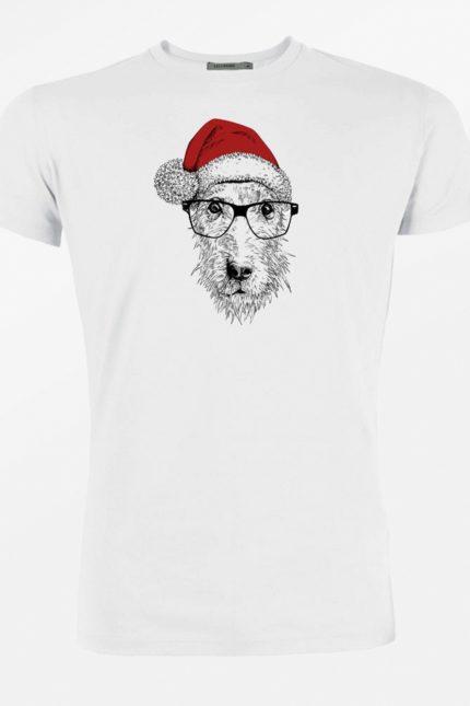 Greenbomb T-shirt Dog Christmas Weiß