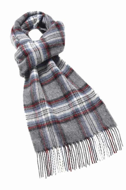 Bronte by Moon Tartan Merino Schal Grey