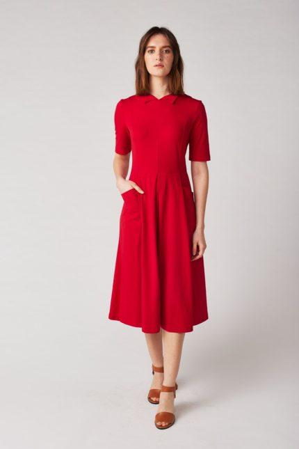 Lana Kleid Himiko Rot aus Bio-Baumwolle