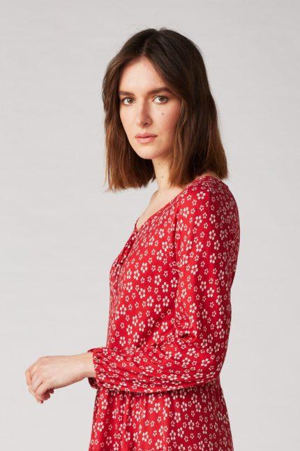 Lana Kleid Shinoa Cherry Rot aus Bio-Baumwolle