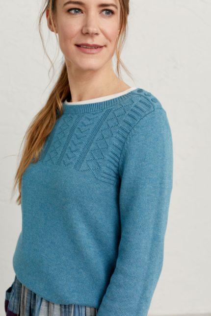 Seasalt Cornwall Pullover Woodsmoke Blau aus Bio-Baumwolle