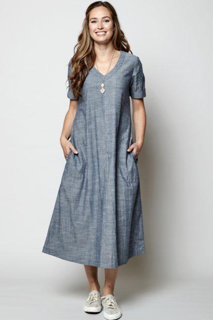 Nomads Midi Kleid Chambray aus Bio-Baumwolle