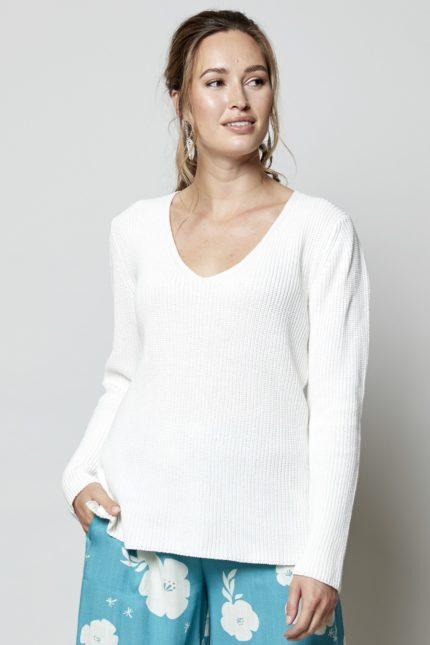 Nomads Gerippter Pullover Weiß aus Bio-Baumwolle