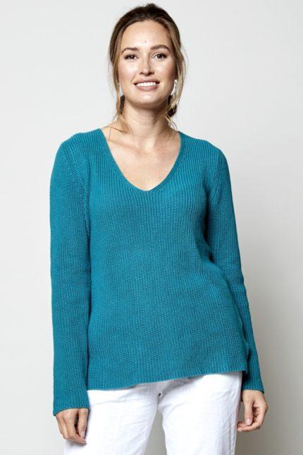 Nomads Gerippter Pullover Blau aus Bio-Baumwolle
