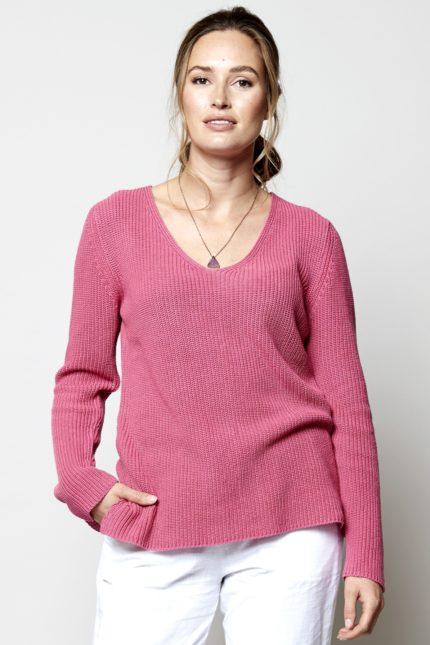 Nomads Gerippter Pullover Rosa aus Bio-Baumwolle