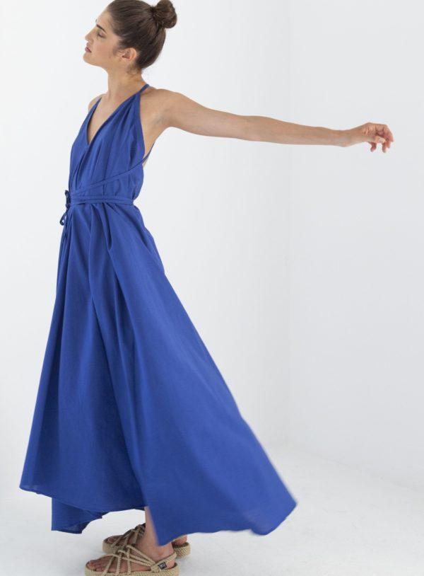 Suite13 Maxikleid Daphne Mazarine Blue mit Leinen