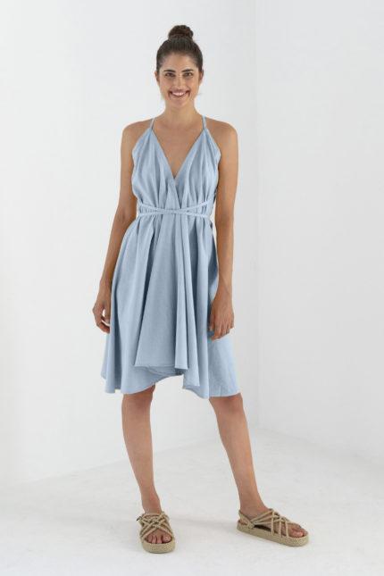 Suite13 Kleid Daphne Gray Mist mit Leinen kurz