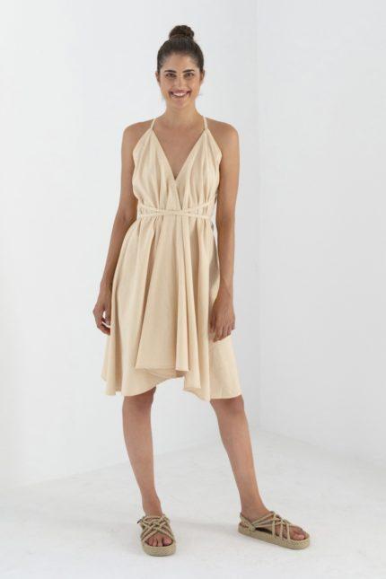 Suite13 Kleid Daphne Sand mit Leinen kurz