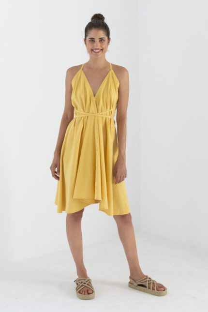 Suite13 Kleid Daphne Super Lemon mit Leinen kurz