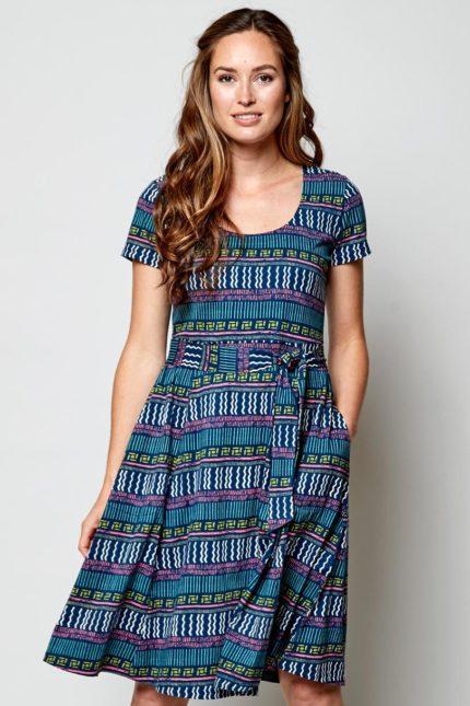 Nomads Kleid Zen Blau aus Bio-Baumwolle