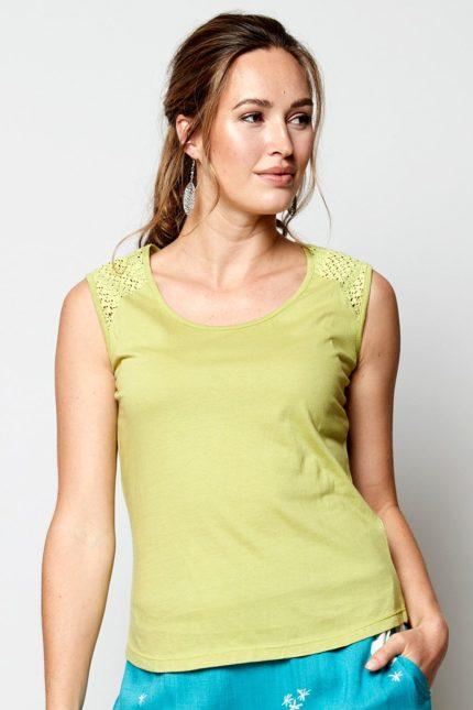 Nomads Top ärmellos Grün aus Bio-Baumwolle