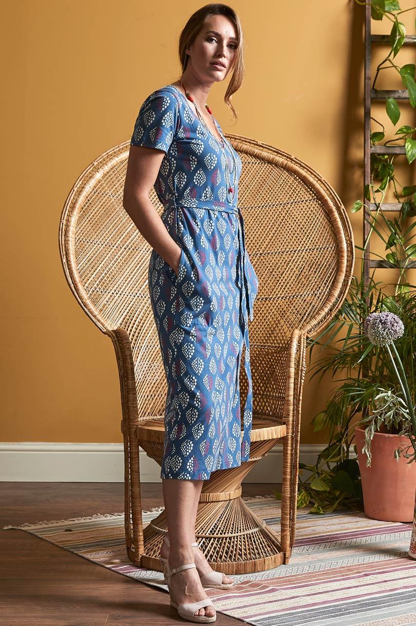 Midi Kleid Solitaire Blau Bella Green