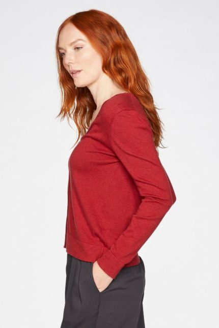 Thought Strickjacke Loren Rot aus Bio-Baumwolle