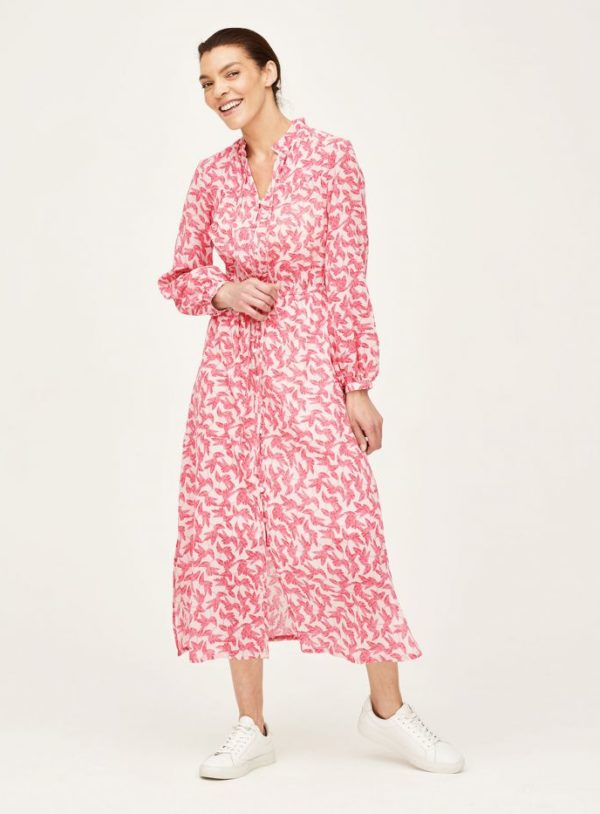 WWD6080-SHELL-PINK-Thackery-Organic-Cotton-Floral-Midi-Dress-in-Pink-1