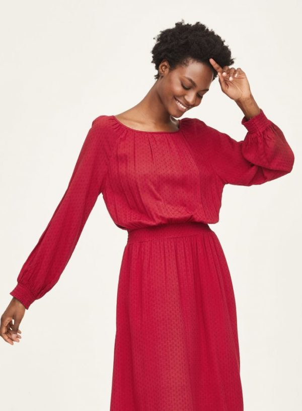 WWD6087-CURRANT-RED-Effa-EcoVero-Midi-Dress-in-Red-1